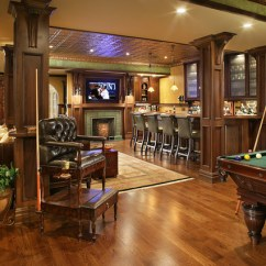Hancock Moore Chairs French Leather Club Chair Pub Bar, Fireplace, And Pool Table - Traditional Basement New York By Carisa Mahnken ...