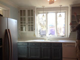 traditional Before and After: Glass-Front Cabinets Set This Kitchen's Style Upholstery in Victoria