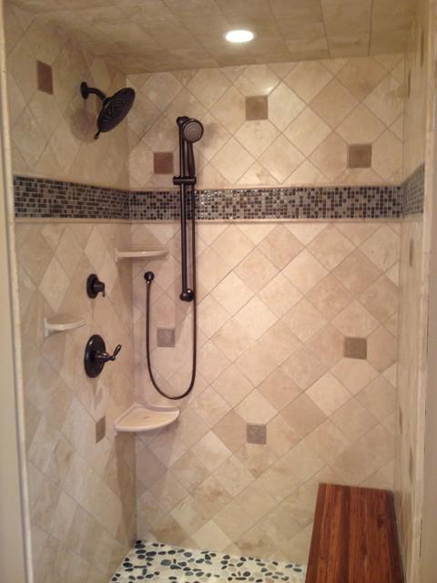 Travertine Amp Glass Shower Contemporary Bathroom
