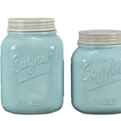 Kitchen Jars Appliance Covers 4 Piece Ceramic Mason Jar Canister Set Blue Farmhouse