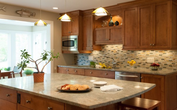 warm kitchen design Warm and Cozy Kitchen with Open Plan Living Room - Traditional - Kitchen - Boston - by