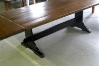 Rustic Harvest Extension Table With Trestle Base ...