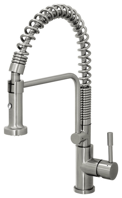 coiled kitchen faucet farmhouse cabinets for sale geyser stainless steel commercial-style spring ...