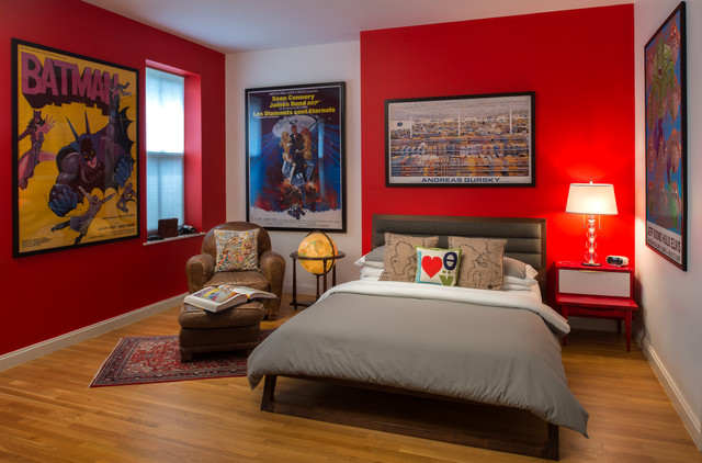 decorating with red leather sofas how to fix a tear in sofa teenage super hero bed room - contemporary kids new ...
