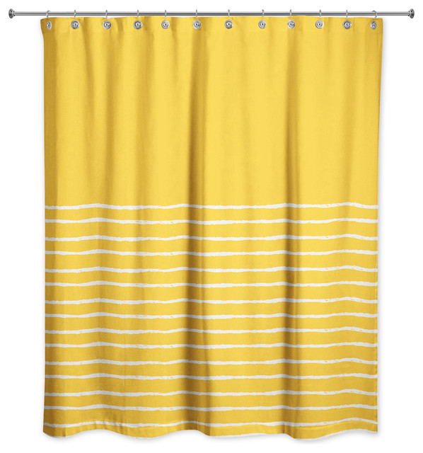 sketch stripes shower curtain yellow and white