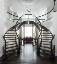 Curved Glass Maple Stair - Modern - Staircase - Edmonton ...