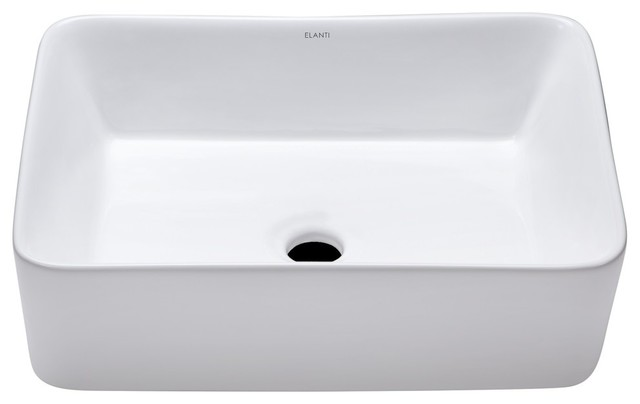 elanti collection porcelain tall edge deep basin rectangular vessel sink