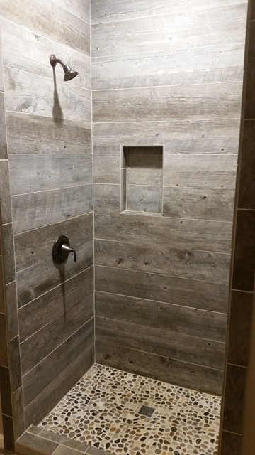 Barnwood Tile Shower Rustic Bathroom