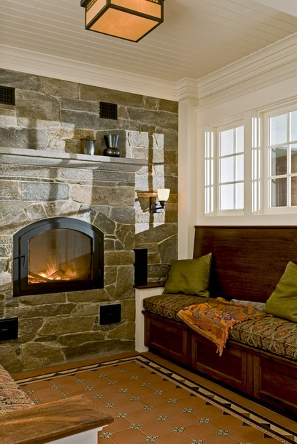 Reading Nook With Masonry Heater And Encaustic Tile Floor Rustic Living Room Burlington By Smith Vansant Architects Pc