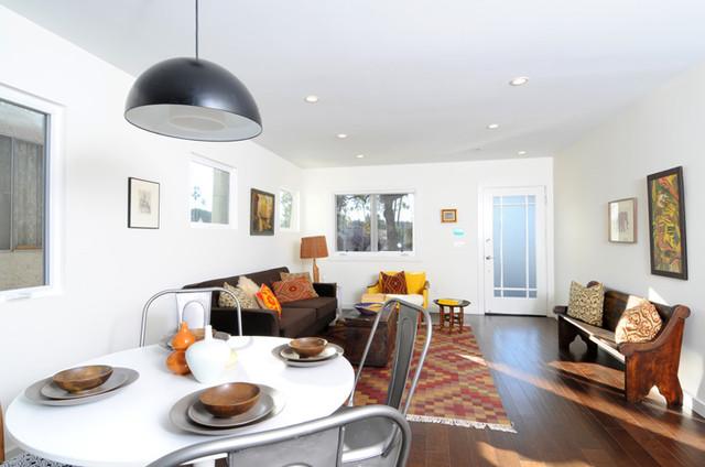 antique white living room tables blue sheer curtains for vintage global modern living/dining with kilim rug ...