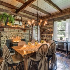 Wood Lounge Chairs Plans Stainless Steel Chair Legs Gentry Farm Log Cabin Dining Room Left - Rustic Nashville By Pro Media Tours