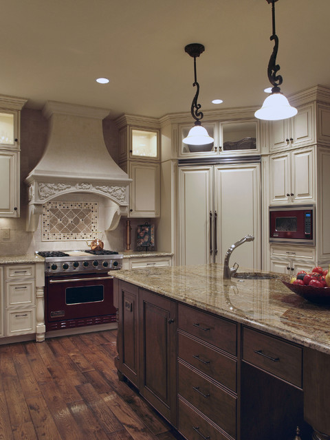 White Antiquelook OldWorld Kitchen  Traditional