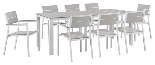 modway maine 9 piece outdoor patio dining set white light gray