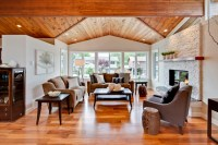 Living Room With Vaulted Wood Ceiling - Transitional ...