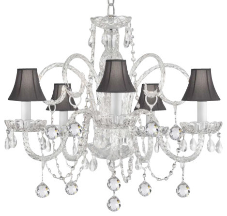 Crystal Chandelier With Black Shades Traditional Chandeliers