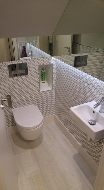 Wc Under Stairs Contemporary Bathroom Other | Under Stair Toilet Design | Toilet Separate | Underground Washroom | Wet Room | Stepped Floor | Small