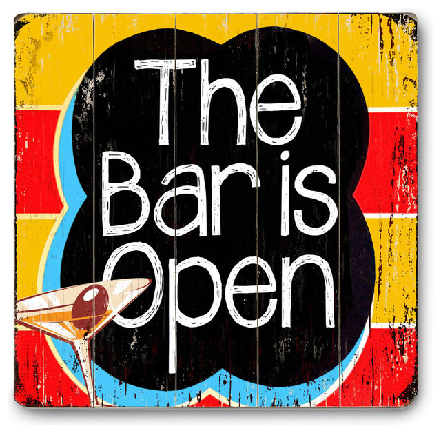 The Bar Is Open Wood Sign  Contemporary  Game Room
