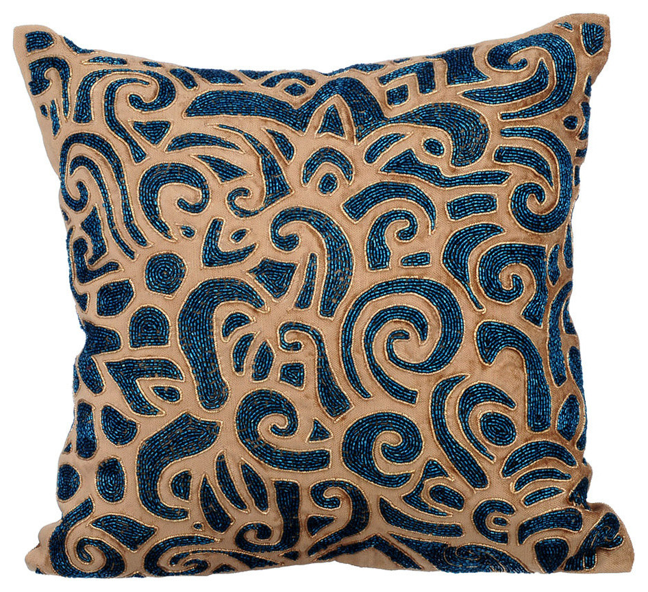 metallic beads 16 x16 cotton velvet gold throw pillow covers gold sapphires