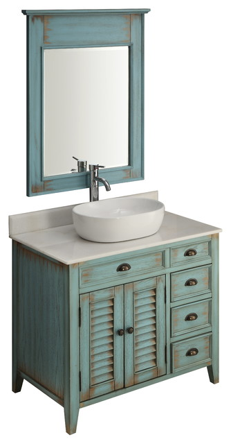 36 distress blue abbeville vessel sink vanity with matching mirror