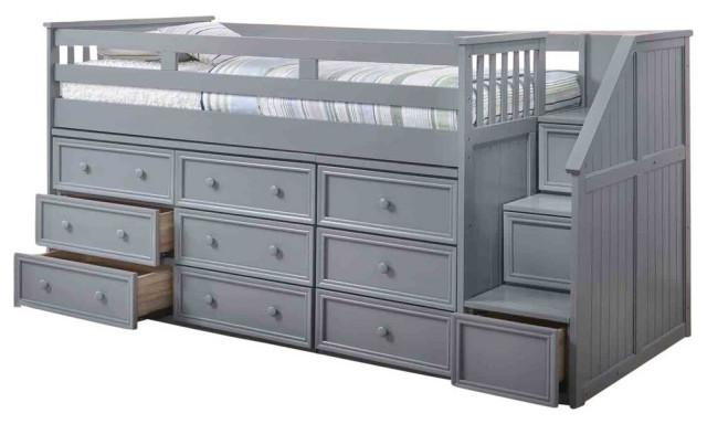 marlena grey twin storage low loft bed with stairs