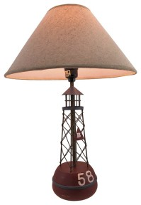 Red Buoy Nautical Table Lamp with Linen Shade - Eclectic ...