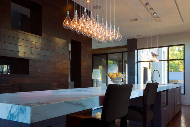 Modern Kitchen Island Light Clear Teardrop Glass Linear Pendant