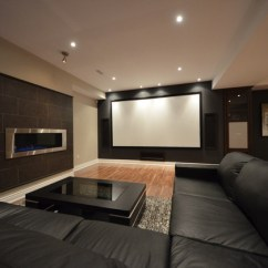 Decorate Living Room With Black Couch Pictures Of Rooms No Fireplace Basement Home Theatre