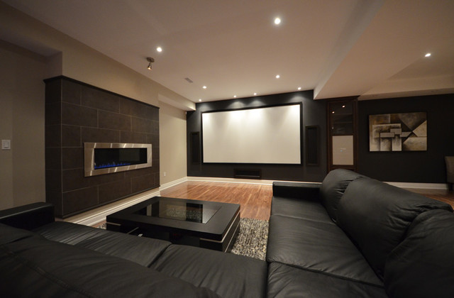 decorate living room with black couch designer table lamps basement home theatre