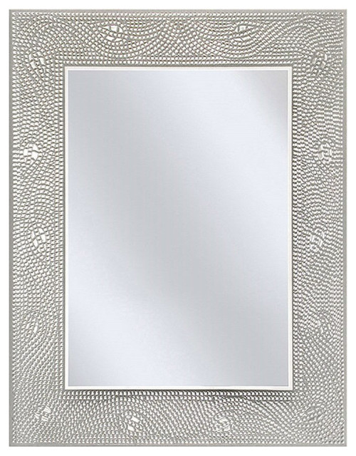 rectangle bathroom vanity mirror with mosaic crystal floral motif