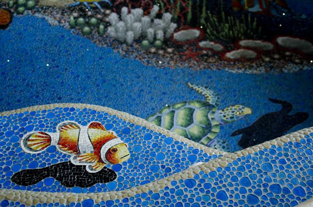 Closer look at pool tile work  Tropical  Pool  calgary