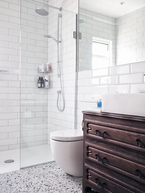 Terrazzo Floor Tiles With White Brick Tiles In A Contemporary Shower Room Contemporary Bathroom London By Terrazzo Tiles Houzz Au