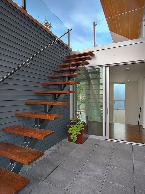 Exterior Stair Accessing Roof Terrace Modern Staircase Seattle By Jim Burton Architects   Designs Of Stairs Outside House