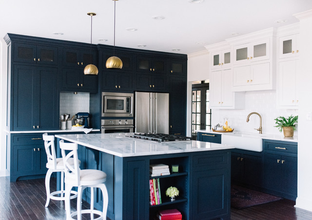 Navy Blue Kitchen Design Alexandra Lauren Interior Design