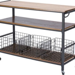 Metal Kitchen Carts 3 Piece Table Lancashire Wood And Cart Industrial Brown