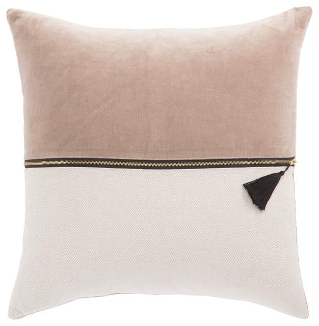 nikki chu by jaipur living caribou desert taupe throw pillow 22 down fill