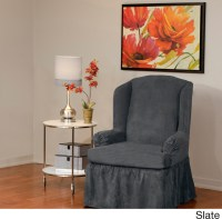 Luxury Suede One-piece Relaxed Fit Wing Chair Slipcover ...