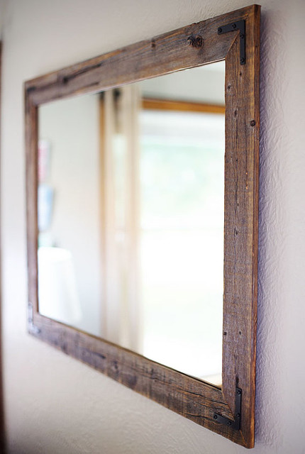 Reclaimed Wood Framed Mirror  Rustic  Bathroom Mirrors