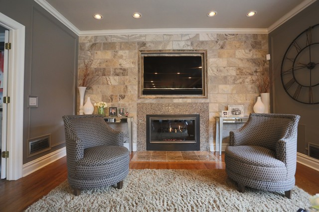 Stone Tile Wall Living Room with Embedded TV and Fireplace