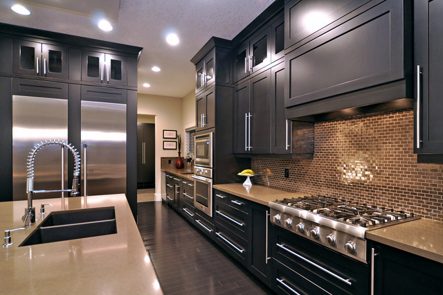 Black Stained Oak Cabinets