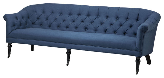 french linen tufted sofa leather arm protectors uk bentley country blue traditional sofas