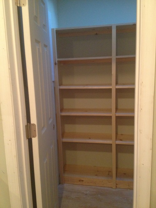 unfinished kitchen pantry how much are remodels shelves: paint or stain?