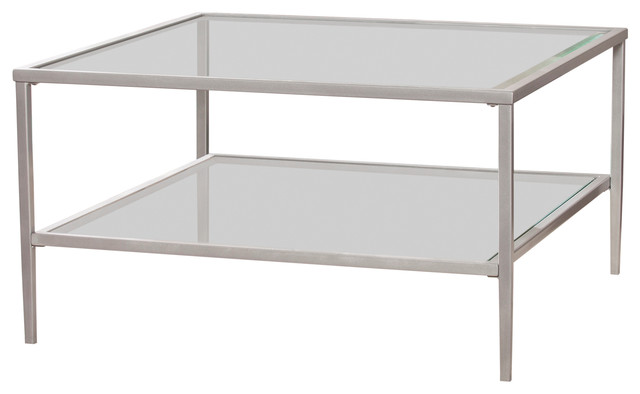 tipton square metal glass open shelf cocktail table silver