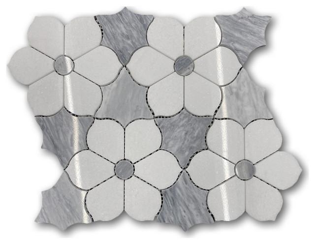 thassos white marble magnolia flower mosaic tile w bardiglio gray leaf polished