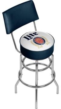 Miller Lite Swivel Bar Stool With Back, Retro ...