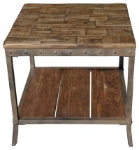 Accent Table In Distressed Pine With Metal Base ...