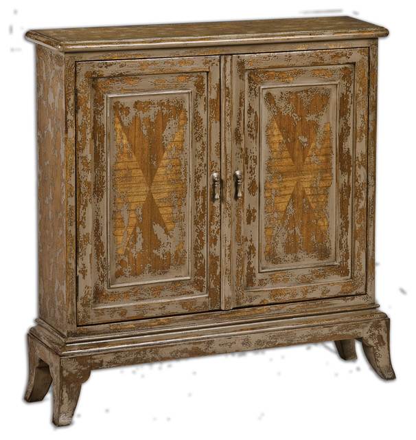 Uttermost Maguire Distressed Console Cabinet rusticaccent
