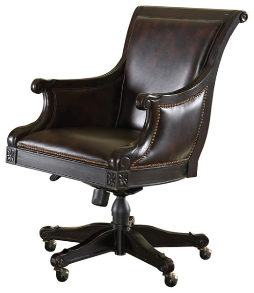 traditional leather office chair Admiralty Desk Chair in Deep Leather & Tamarind
