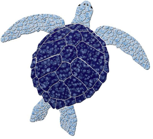 sea turtle 2 ceramic swimming pool mosaic 12 x11 blue