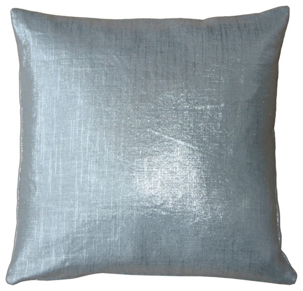 pillow decor tuscany linen metallic throw pillow silver 16 x 16