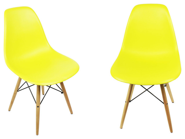eiffel chair wood legs bistro style tables and chairs 4 x dsw light yellow modern mid century dining shell w midcentury by emodern decor